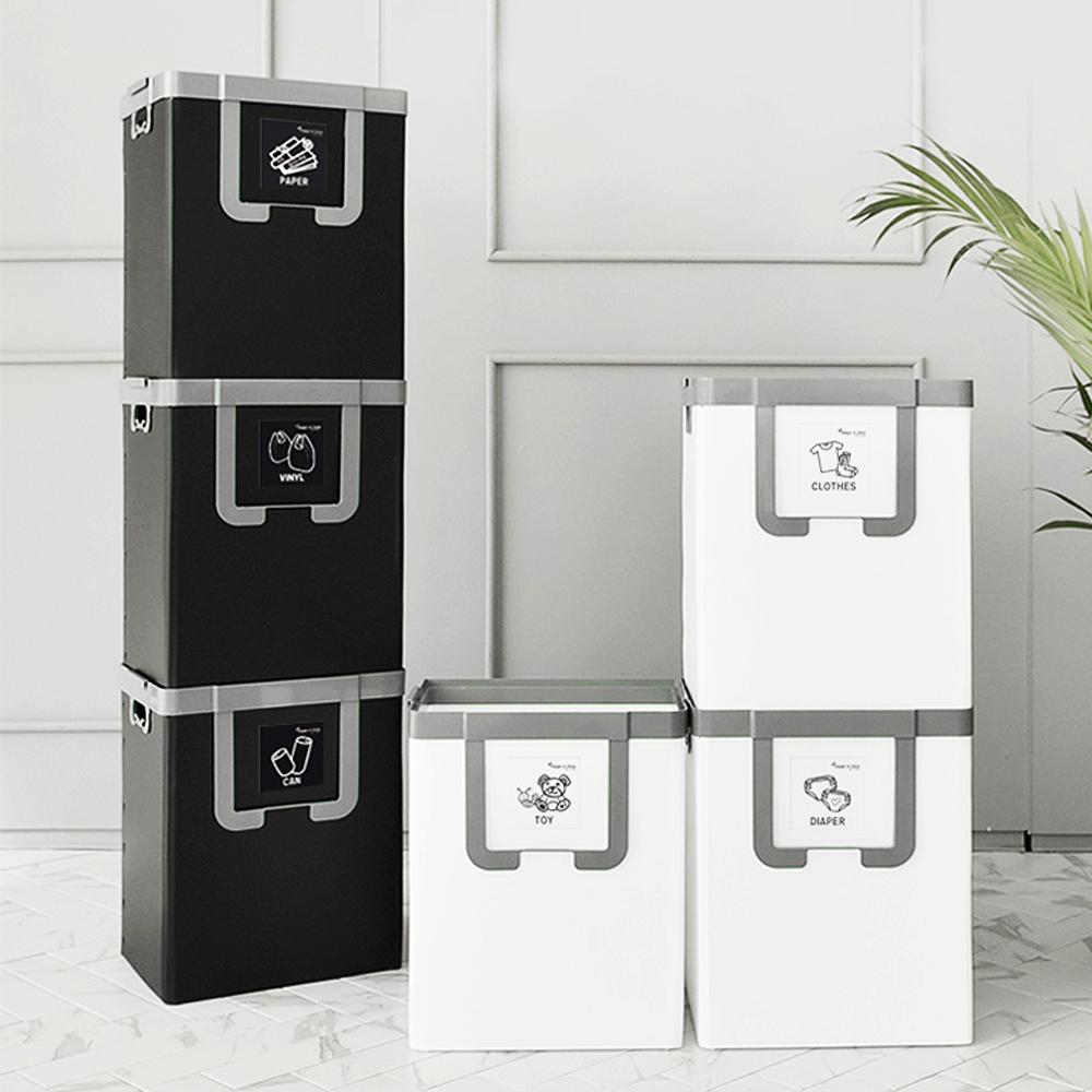 c34 재활용수거함 나누미 3단 공간활용마법사 블랙N그레이