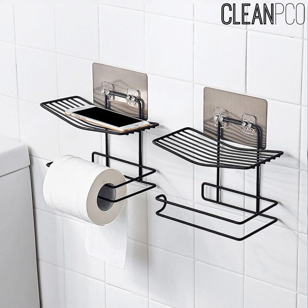 (리빙)심플 화장실걸이용 선반 블랙