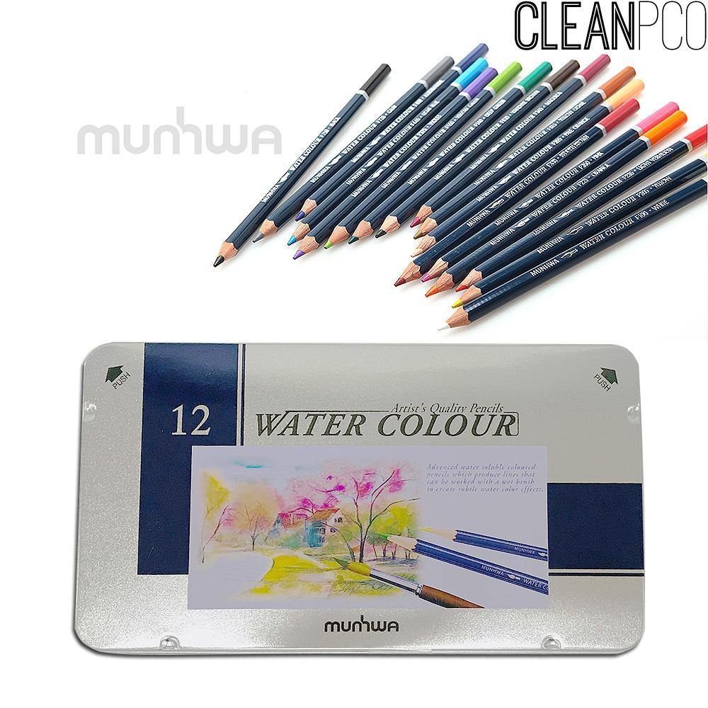 f09 문화 12색 수채색연필 틴케이스 33694