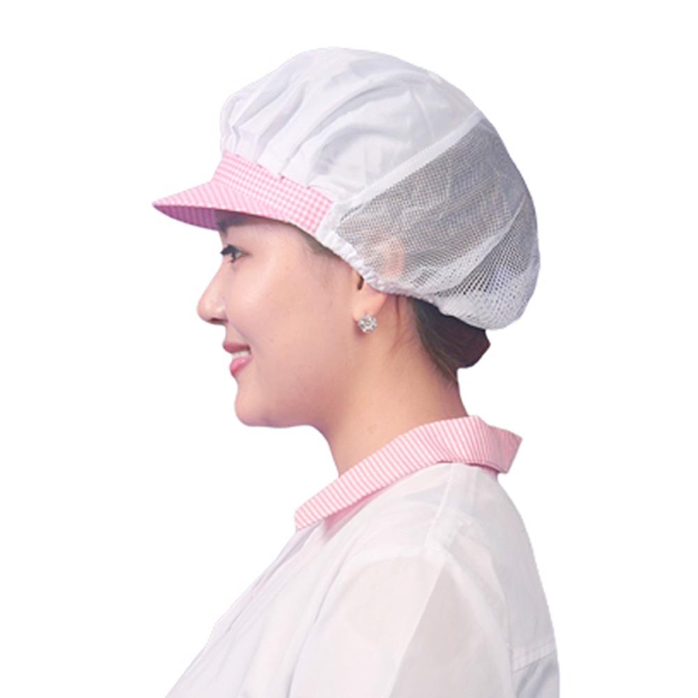 b06 CA02 핑크체크 반망사 위생모자